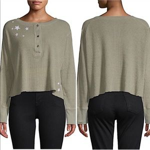 Monrow Green Oversized Cropped Thermal Star Henley